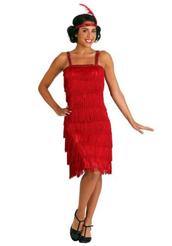 Click Here to buy Miss Millie Red Fringe Flapper Costume from HalloweenCostumes, CDN Funds & Shipping