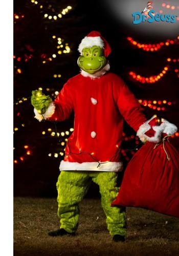 The Grinch Santa Deluxe Mens Jumpsuit with Mask