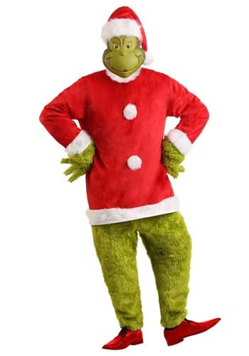 Click Here to buy The Grinch Santa Deluxe Jumpsuit with Mask Mens Costume from HalloweenCostumes, CDN Funds & Shipping