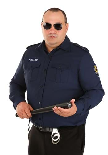Men's Plus Size Long Sleeve Police Shirt Main Update