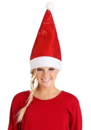 Unisex Red Sequin Santa Hat