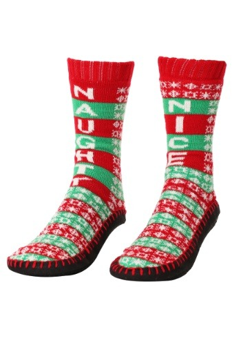 Naughty Nice Knit Christmas Slipper Socks