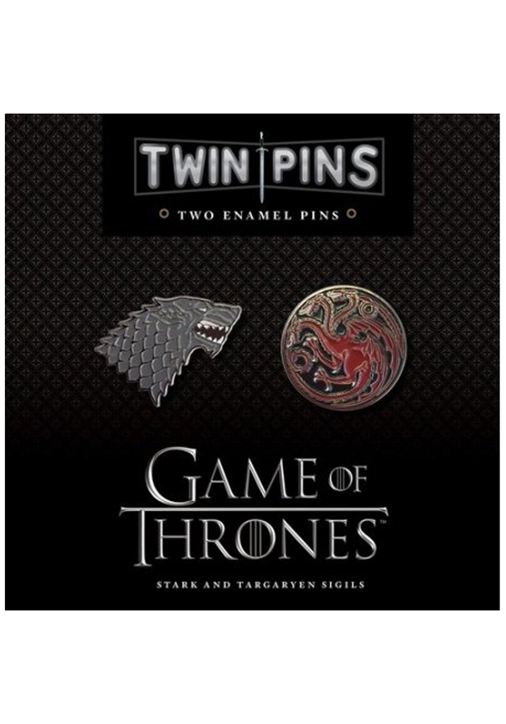 INOpets.com Anything for Pets Parents & Their Pets Game of Thrones Stark & Targaryen Twin Enamel Pin Set