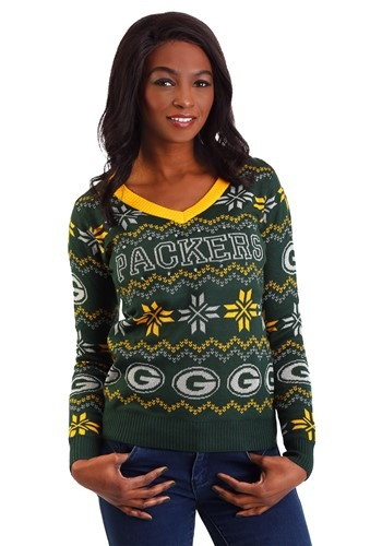 Womens Green Bay Packers Light Up V Neck Bluetooth Ugly Christmas