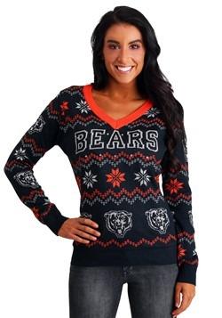 Women's Chicago Bears Light Up V-Neck Ugly Christmas Sweater