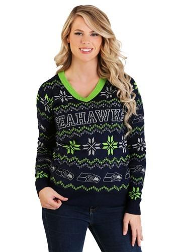 Seattle Seahawks Women's Light Up V-Neck Bluetooth Sweater