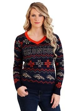 Denver Broncos Women's Light Up V-Neck Bluetooth Sweater