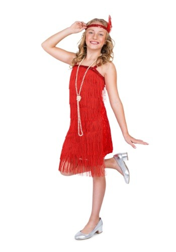 Click Here to buy Red Flapper Costume for a Girl from HalloweenCostumes, CDN Funds & Shipping