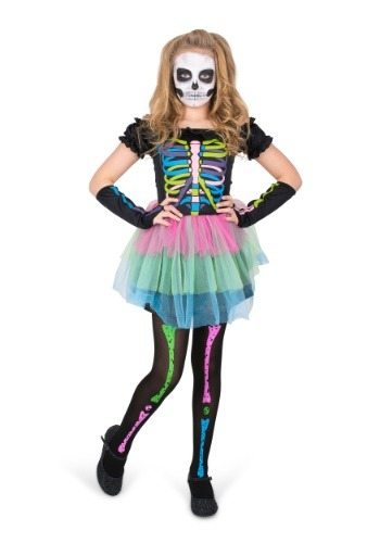 Rainbow Skeleton Girl Costume