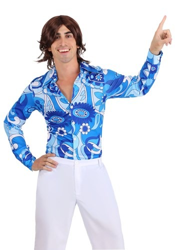 Blue Flower Disco Shirt for Men