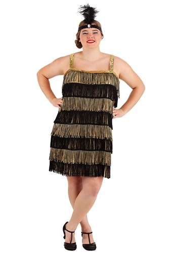 Click Here to buy Plus Size Fringe Gold Flapper Costume from HalloweenCostumes, CDN Funds & Shipping