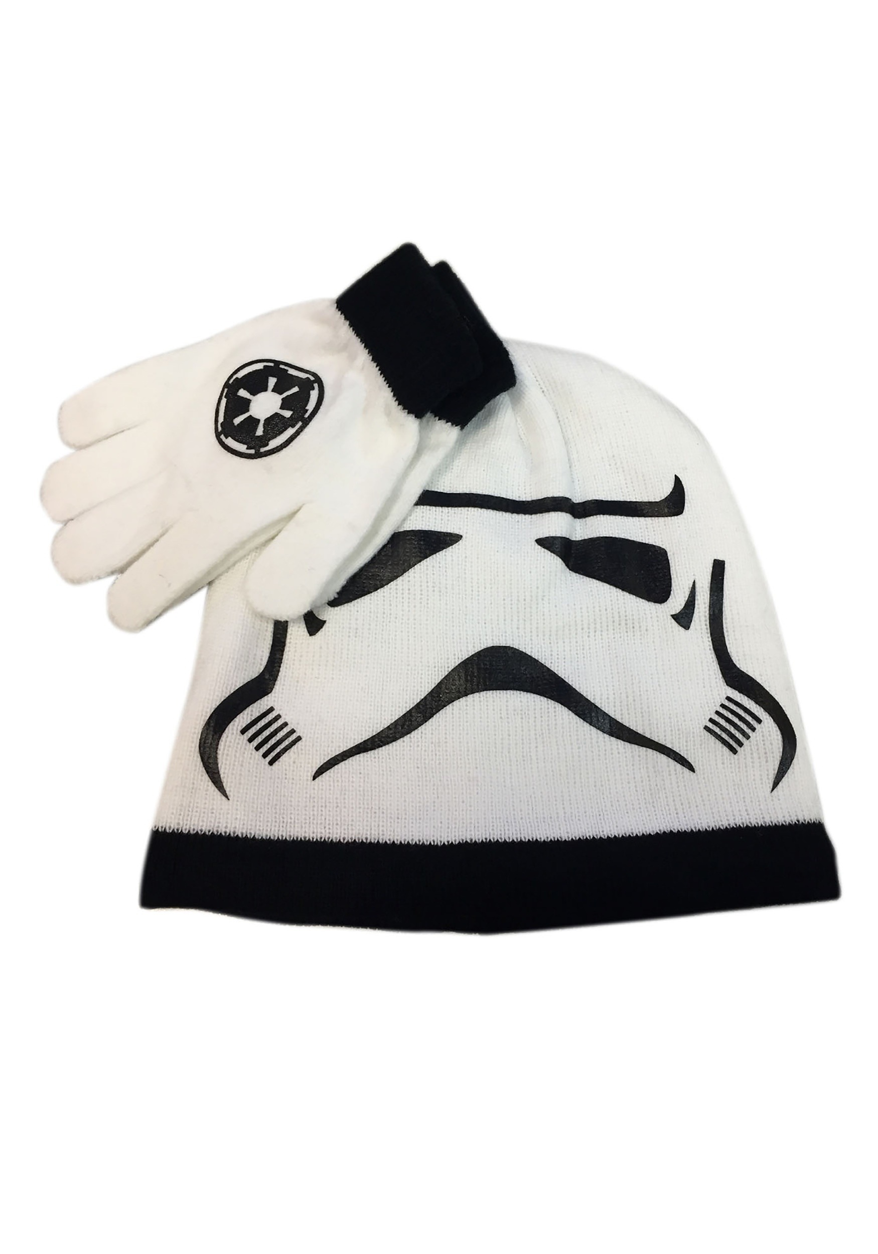INOpets.com Anything for Pets Parents & Their Pets Kids Stormtrooper Big Face Knit Hat & Gloves Set