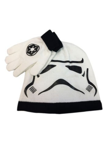 Click Here to buy Kids Stormtrooper Big Face Knit Hat & Gloves Set from HalloweenCostumes, CDN Funds & Shipping