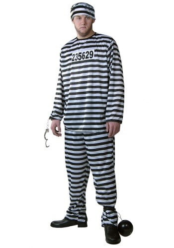 Plus Size Mens Prisoner Costume | Jailbird Halloween Costume