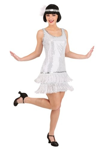 Click Here to buy Silver Plus Size Flapper Dress Costume from HalloweenCostumes, CDN Funds & Shipping