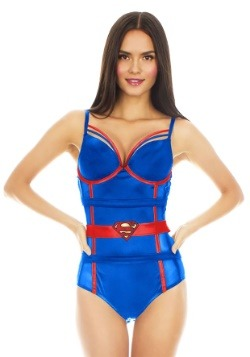 Supergirl Satin and Mesh Bodysuit