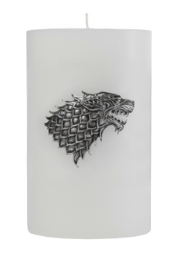 Game of Thrones Stark Large Insignia on a White Candle