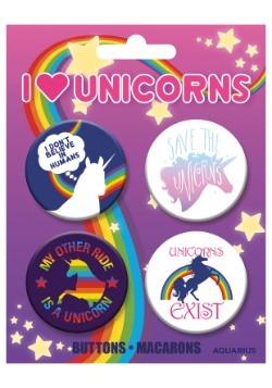 I Love Unicorns 4-Pack Button Set