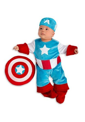Click Here to buy Baby Captain America Costume from HalloweenCostumes, CDN Funds & Shipping