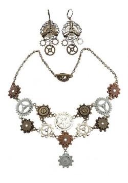 Multi Gear Necklace & Earrings