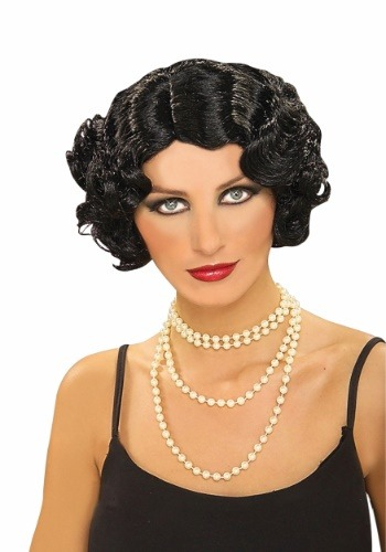 Women's Black Flapper Wig