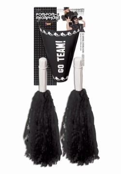 Cheerleader Pom Pom & Megaphone - Black