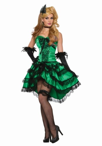 Click Here to buy Emerald Saloon Girl Womens Costume from HalloweenCostumes, CDN Funds & Shipping