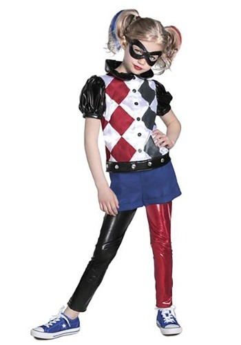 Click Here to buy Premium Harley Quinn DC Superhero Girls Costume from HalloweenCostumes, CDN Funds & Shipping