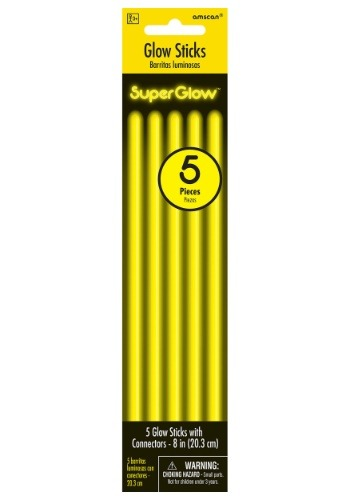 "Yellow Glowsticks - 8"" Pack of 5"