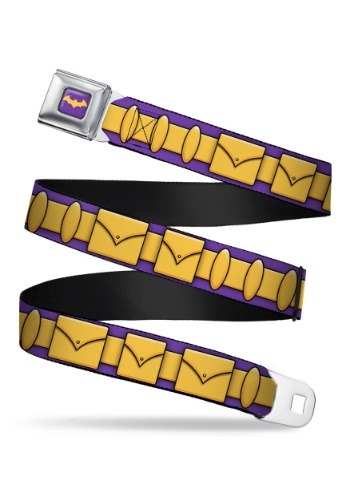 Click Here to buy Batgirl Utility Belt Purple/Gold Seatbelt Buckle Belt from HalloweenCostumes, CDN Funds & Shipping
