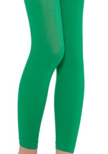 Girls Green Footless Tights