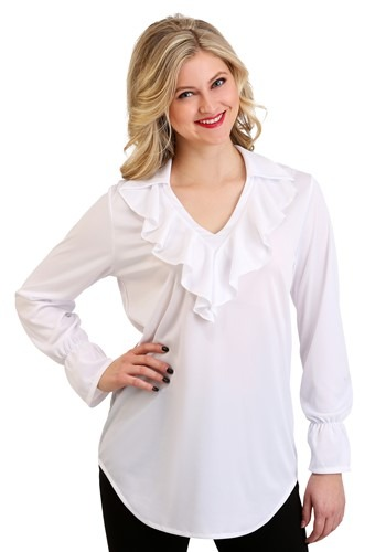 Womens Plus Size Ruffled Pirate Costume Blouse