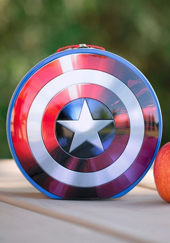 Marvel Captain America Shield Shaped Tin Tote Lunch Box