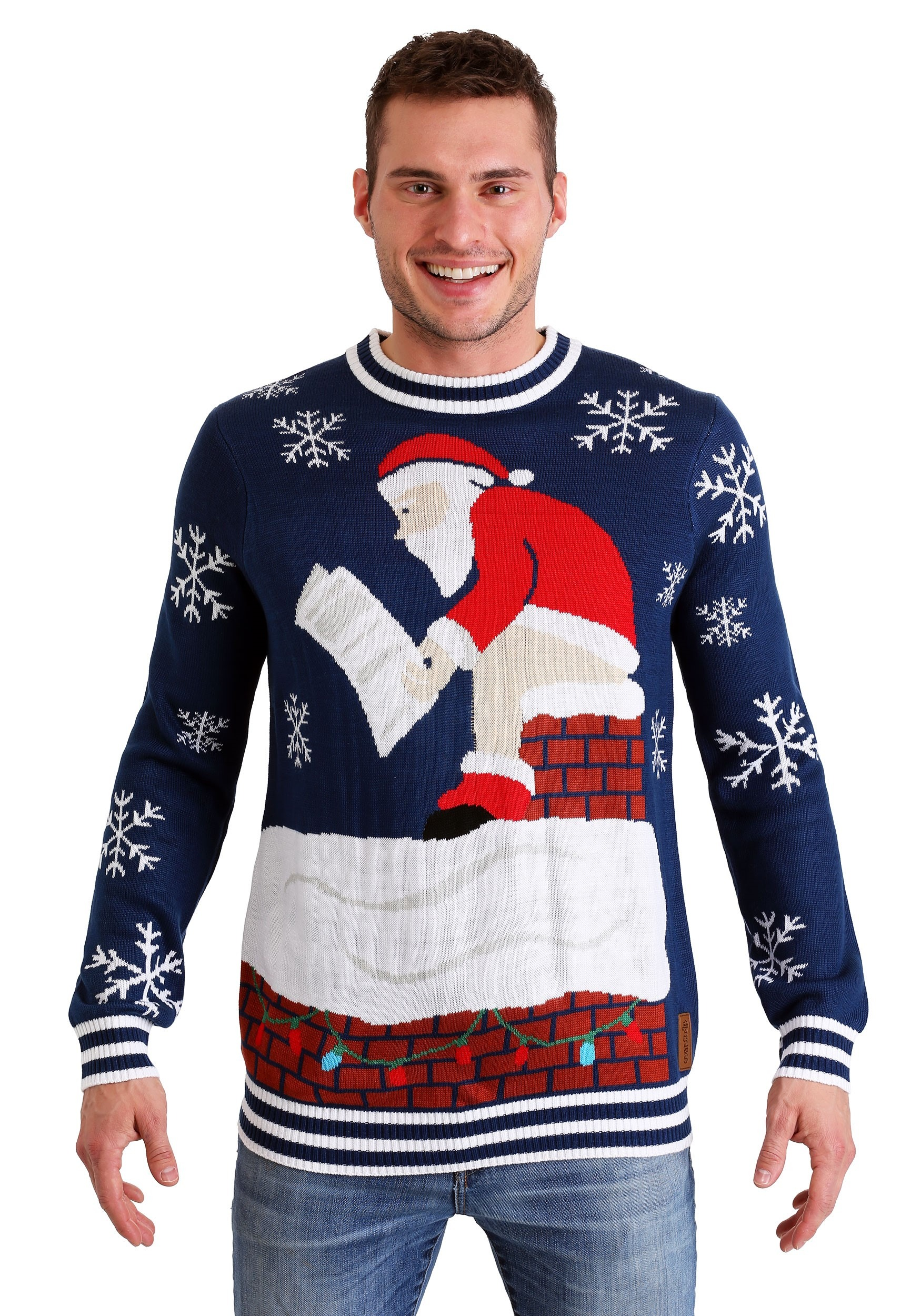 Ugly Christmas Sweater Men.Tipsy Elves Mens Roof Santa Ugly Christmas Sweater