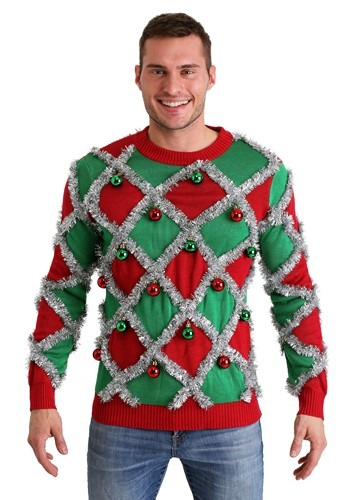 Mens Tipsy Elves Diamond Tinsel Ugly Christmas Sweater