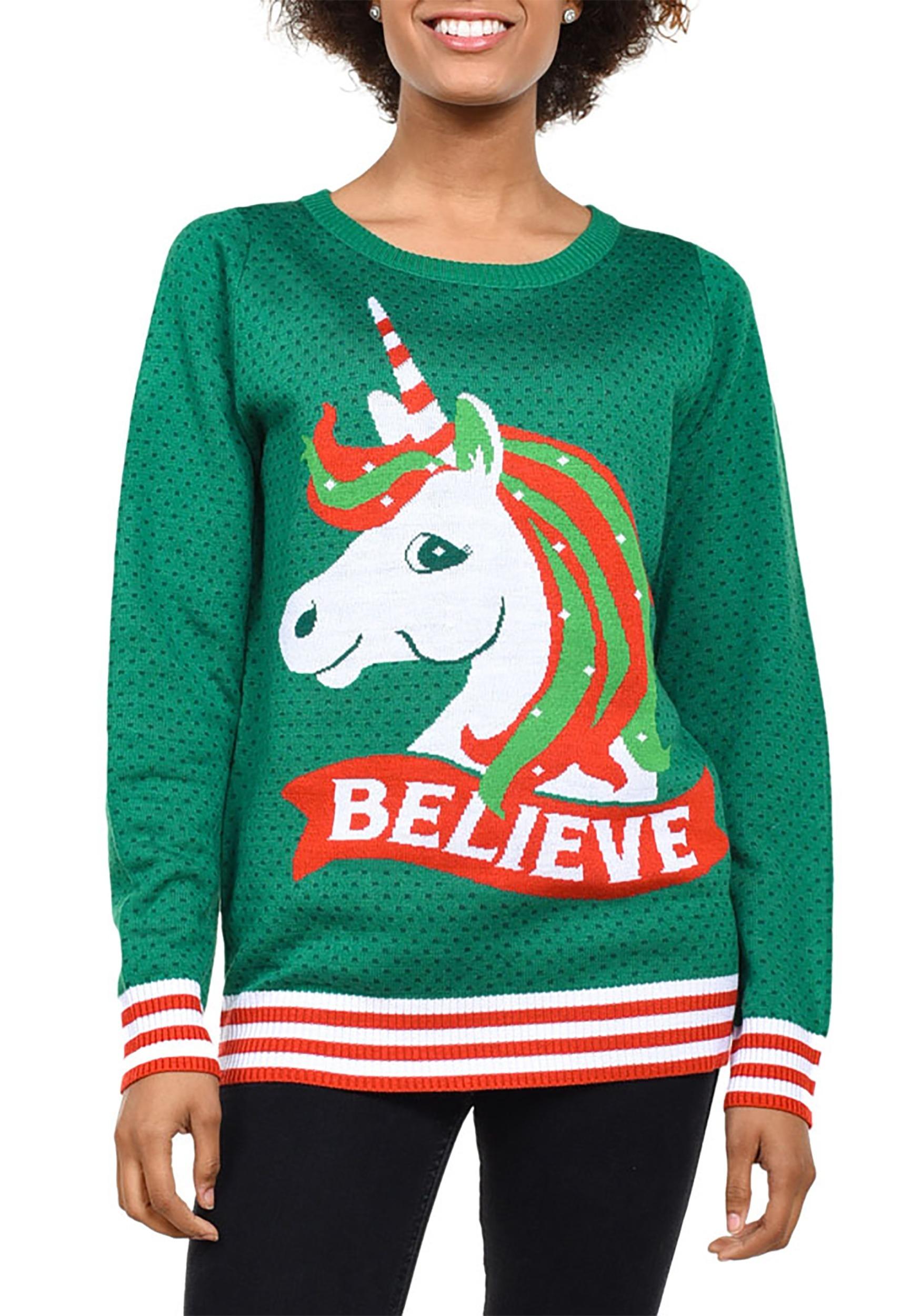 3c3485afe6 Tipsy Elves Women s Unicorn Ugly Christmas Sweater