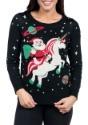 Tipsy Elves Womens Santa Riding Unicorn Ugly Christmas Sweat