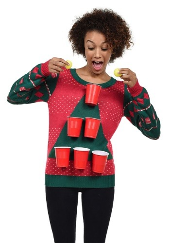 Tipsy Elves Womens Beer Pong Ugly Christmas Sweater