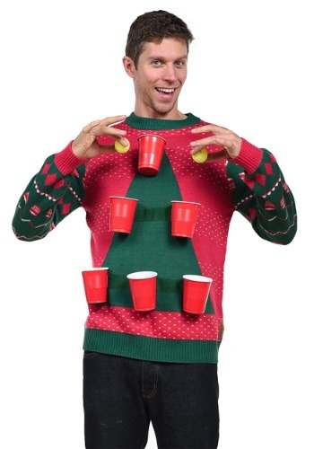 Tipsy Elves Men's Beer Pong Ugly Christmas Sweater