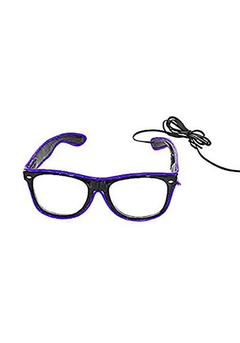 Black Frame EL Wire Glasses Purple