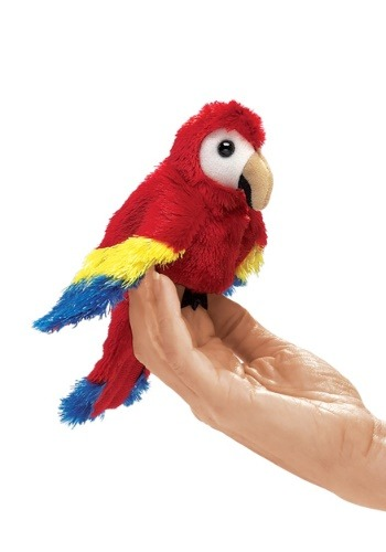 Folkmanis Mini Parrot (Scarlet Macaw) Finger Puppet