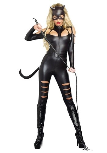 Womens Black Cat Fight Costume