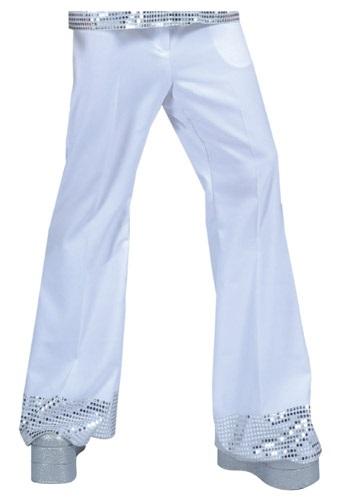 White Sequin Cuff Disco Pants
