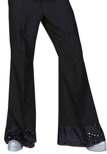 Black Sequin Cuff Disco Pants