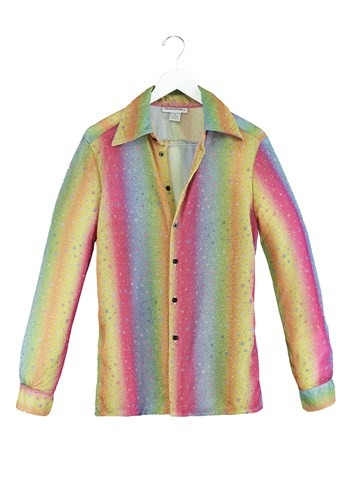 Click Here to buy Rainbow Sparkle Mens Disco Shirt from HalloweenCostumes, CDN Funds