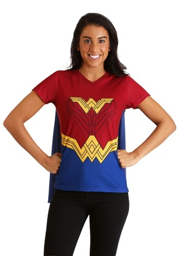 DC Comics Wonder Woman Cape Women's Costume T-Shirt
