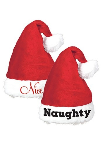 Click Here to buy Naughty and Nice Santa Hats Set for Adults from HalloweenCostumes, CDN Funds & Shipping