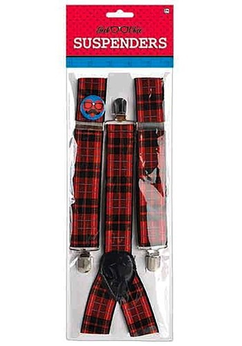 Plaid Nerd Suspenders Accessory