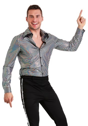 Click Here to buy Mens Plus Size Disco Ball Shirt from HalloweenCostumes, CDN Funds & Shipping