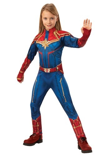 Click Here to buy Captain Marvel Deluxe Kids Costume from HalloweenCostumes, CDN Funds & Shipping